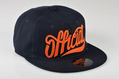 Navy Wool Cap (Official Brand Headwear Crown Kappe Cap Strapback Hat 1888 Navy Orange Wool)