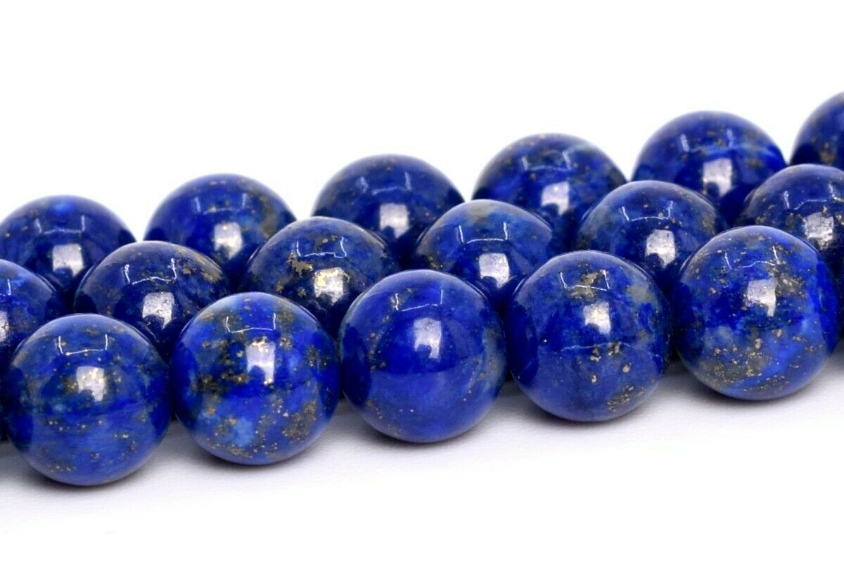 10MM Genuine Natural Deep Blue Lapis Lazuli Beads Afghanistan AA Round Bead 7.5 nvKE-7825