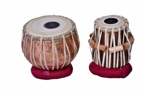 Copper Tabla Set Flower Carving Mango Wood Dayan INDIAN MUSICAL INSTRUMENT Strap