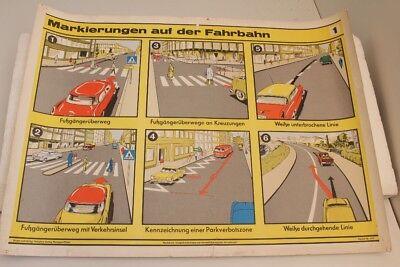 Fahrschultafel Wall Chart Markings on The Roadway 1 Remagen/Rhine 50er Year
