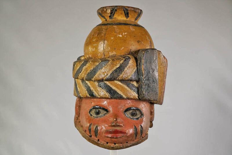 "Colorful Yoruba Gelede African Mask 12"" - Nigeria"