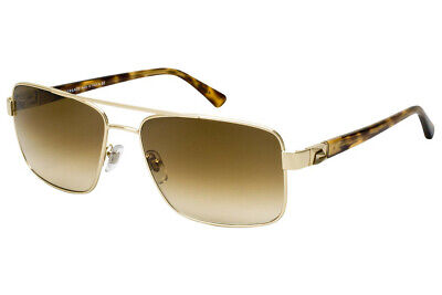 New VERSACE VE 2141 1252/M7 58mm Pale Gold Crystal Polarized Sunglasses Italy