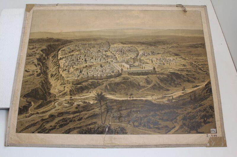 Old Schulwandtafel Wall Chart Jerusalem