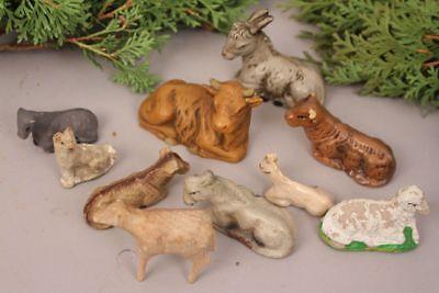 Nativity Figures Set Animals Donkey Bullock Sheep Old Antique Handmade Christmas