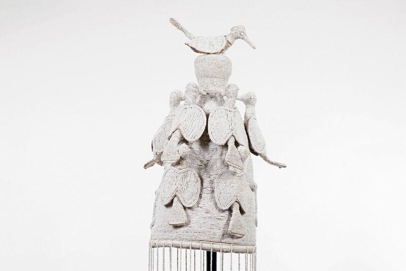 "White Hand-Beaded Yoruba Crown 18.5"" - Nigeria - African Art"