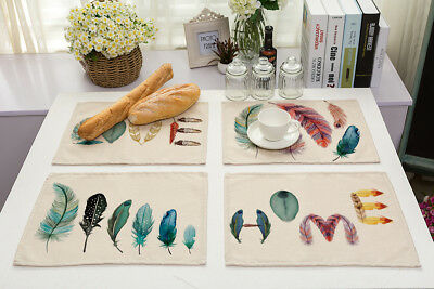 US Feather Printed Cotton Llinen Pad Dining Table Kitchen Rectangular Place Mat (Feather Place)