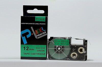 Compatible Casio Xr-12gn Black On Green 12mm 8m Label Tape Kl-2000 Xr-12gn1