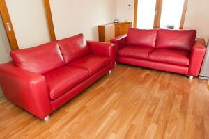 Nick Scali Red Leather 2.5 Seater Lounges. Excellent condition Klemzig Port Adelaide Area Preview