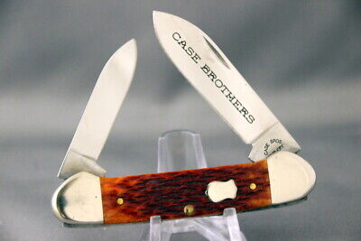 CASE BROTHERS 62131 Canoe Folding Knife, Jigged Bone Handles, 2003, Tin Box