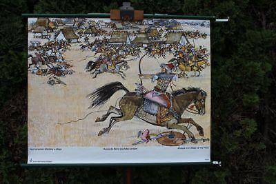 Role Map Schulwandkarte Wall Map Hunnische Rider Überfallen a Village School