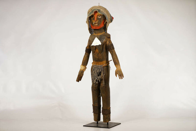 """Ornate West African Female Statue 33.5"""" on Base - African Art"""
