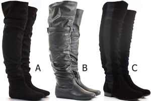Womens-Thigh-High-Over-the-Knee-Winter-Biker-Style-Low-Flat-Heel-Knee-Boots-Size