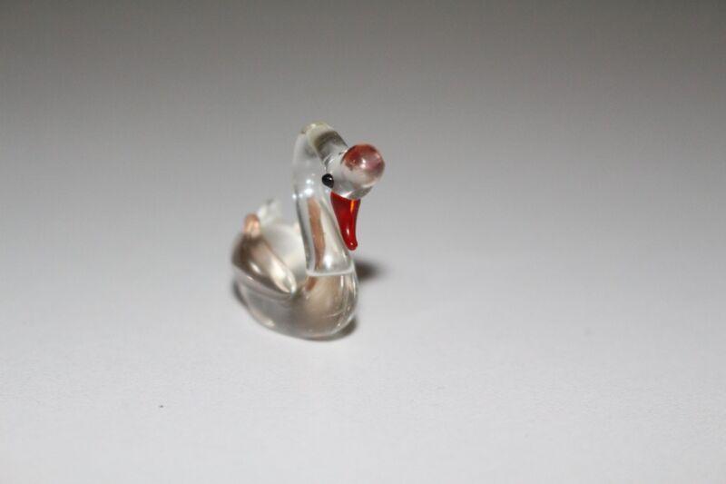 Glass Figure Animal Lauscha Murano Glasstockente Duck Clear Handmade