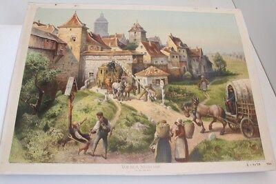 Old Schulwandtafel Wall Chart before the City Gate um 1800 Wachsmuth Leipzig