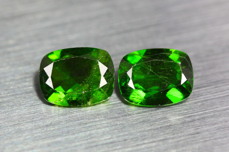 4.230 CT AMAZING UNUSUAL CHROME GREEN 100% NATURAL UNHEATED CHROME DIOPSIDE PAIR