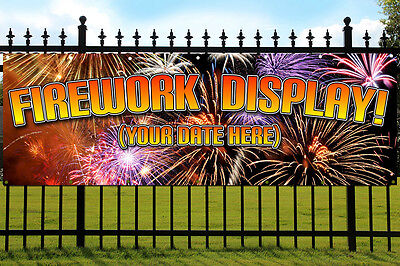 Outdoor Banner Display (Firework Display Banner Outdoor/Indoor Waterproof PVC Banner INCLUDE YOUR DATE)
