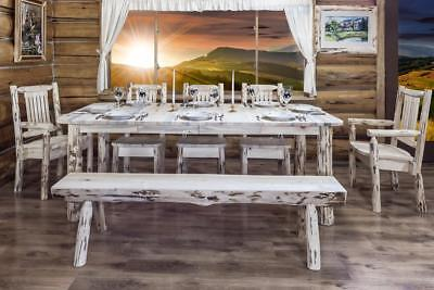 Rustic LOG Dining Room Set Extending Table with Five Chairs and Bench Lodge  Log Dining Room Furniture