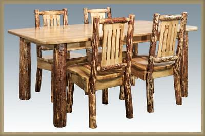 Amish Log Dining Room Set 6 ft Kitchen Table and 4 Chairs Lodge Cabin - Amish Furniture Dining Table