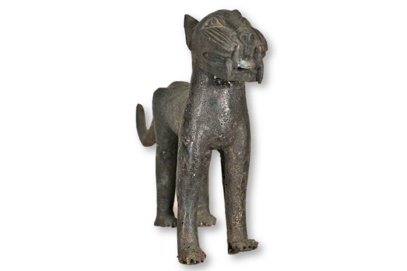 Beautiful Benin Bronze Female Leopard 14"