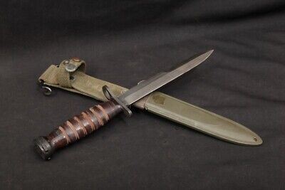 WWII US Imperial USM4 Rifle Knife Bayonet Leather Handle & USM8A1 BMCO Scabbard
