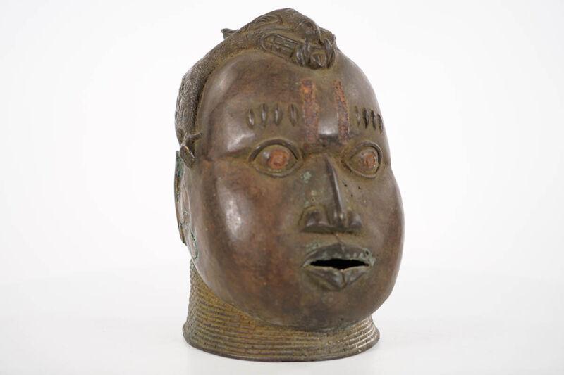 """Benin Bronze Head with Leopard on Top 9"""" - Nigeria - African Art"""