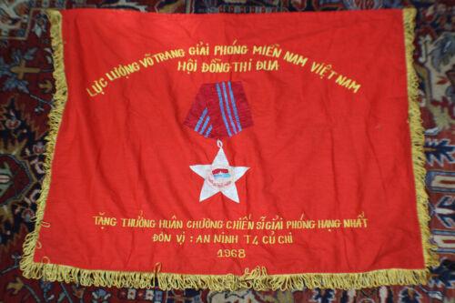 North Vietnamese Flag. Single Sided. Backed. W/ Fringe. 1968.