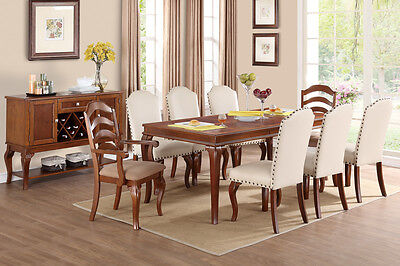 (Parson Design Oak Finish Formal Traditional 9Piece Dining Table Set Chair Chairs)