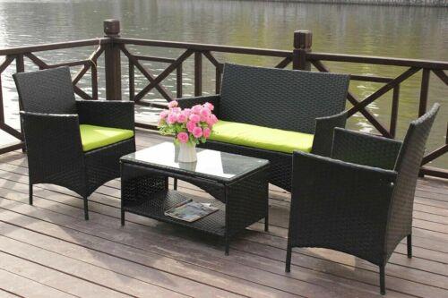 Garden Furniture - 4PCS Outdoor Garden Rattan Set Patio Wicker Table Sofa Furniture w/ Cushion