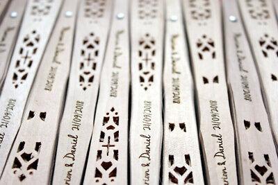 Pack 10 Abanicos sándalo personalizado grabado nombre y fecha