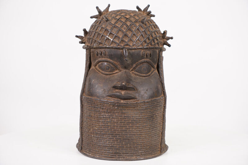 "Gorgeous Benin Bronze Oba Head 11.25"" - Nigeria - African Art"