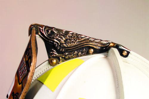 Brass Eagle fire helmet finial with integrated Brass Rear cap