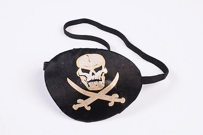 Black Pirate Eye Patch with Skull Print Pirate Costume Accessory