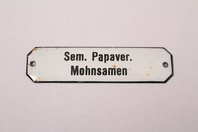 Sem. Papaver. Poppy Seeds Enamel Sign Colonial Pharmacy Grocer Medicine