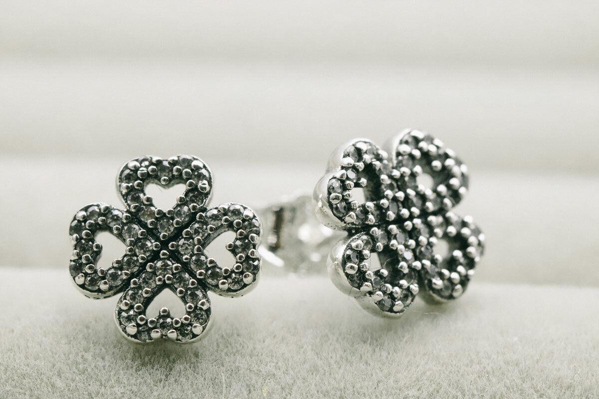 Authentic Pandora 290626CZ Silver 925 ALE Petals Of Love Stud Earrings - $6.50