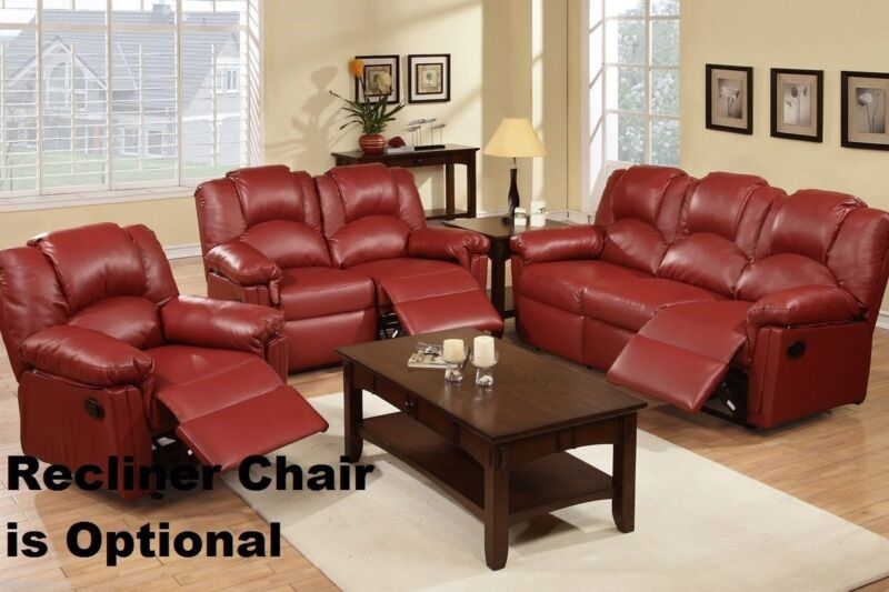 Bonded Leather Burgundy Motion Sofa Set 2pc Sofa & Loveseat Living Room Couch