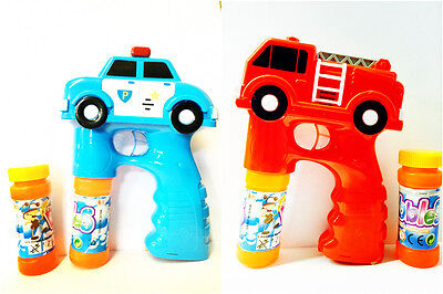 Feuerwehr Auto Bubble Gun Seifenblasenpistole LED Lichter und Sound Rot/Blau ()