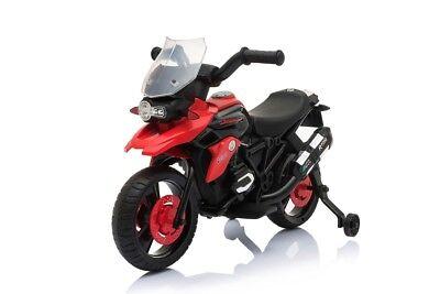 Moto Elettrica Enduro Corsa Per Bambini con Luci e Suoni rotelle 6V Rossa