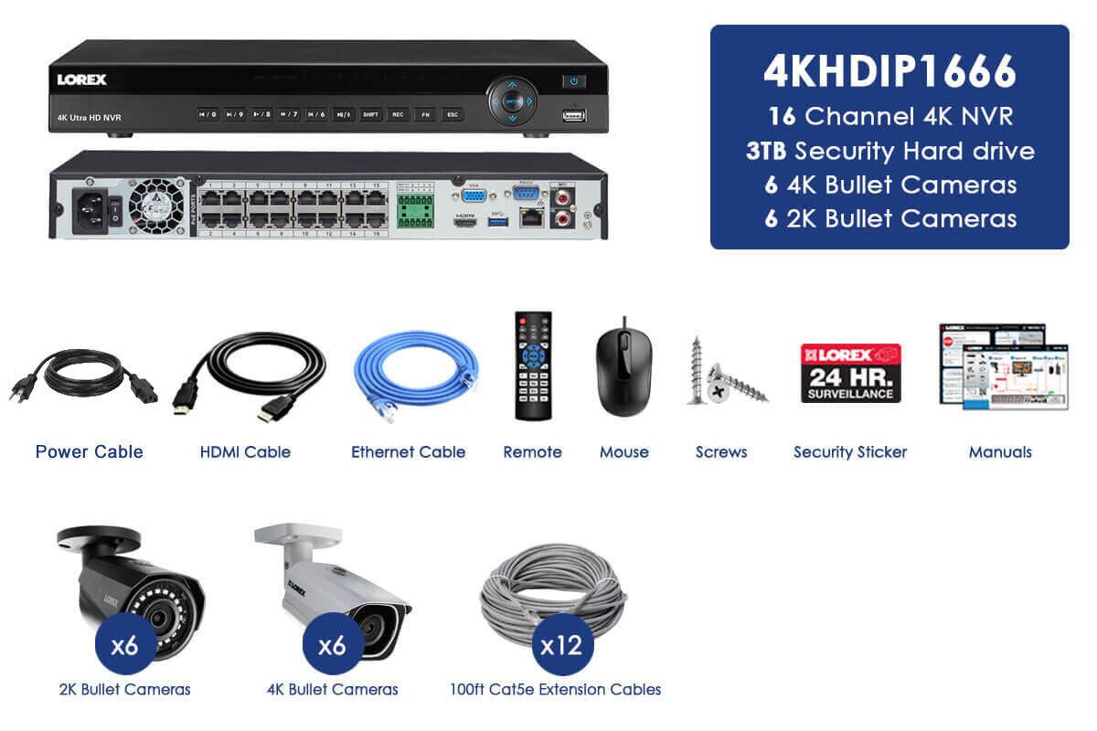 LOREX 4K Ultra HD IP NVR system with 6 4K 8MP IP Cameras + 6