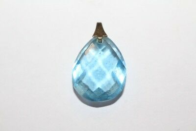 Original Vintage 1950s 50er Pendant Bead Faceted Bright Glass Stone Rhinestone
