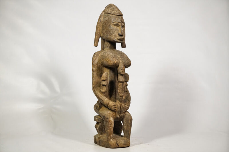 "Female Dogon Figure with 3 Children 23.5"" - Mali - African Art"
