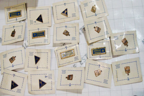 LOT 18 vintage JEWISH THEME PIN SET pinback collection Judaism school merit pins
