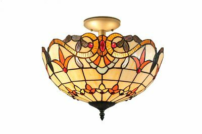 Baroque Tiffany Style Handmade Stained Glass Flush Ceiling Light With Fittings