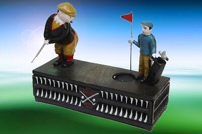 Spardose mit 2 Golfspieler Geschenk Antikspielzeug Vintage Dekoration Spielzeug