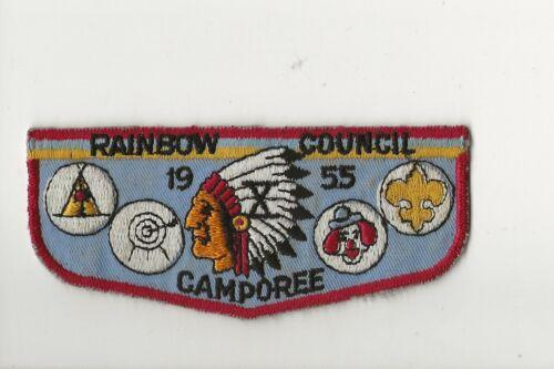 RAINBOW COUNCIL / 1955 Camporee / FLAP SHAPED PATCH - Boy Scout BSA /7-18