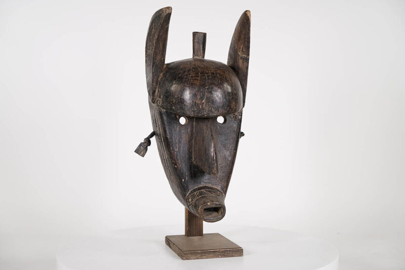 """Bamana Kore African Mask 18"""" with Stand 