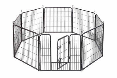 "24"" Dog Playpen Crate 8 Panel Fence Pet Play Pen Exercise Puppy Kennel Cage BLK"