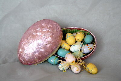 Foil Easter Egg Candy Box VINTAGE Wooden Easter Eggs