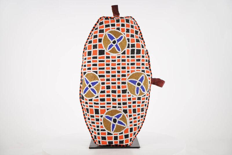 "Colorful Yoruba Beaded Pillow 21"" - Nigeria - African Art"