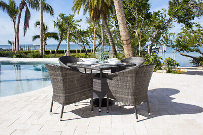 Ultra 5 PC Woven Armchair Dining Set with Cushions