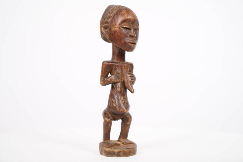 "Petite Female Luba Statue 9"" - DR Congo - African Art"